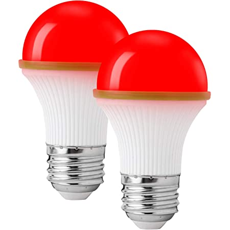 Red Light Bulbs, KINUR red led Light Bulb UL Listed 3W/A15/e26 Energy Saving Outdoor Indoor Bedroom Porch Desk lamp 2 Pack