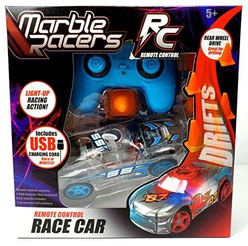 Marble Racers R/C Remote Control Light Up Rechargable Rear-Wheel Drive Race Car with Easy-Turn Technology for Any Hard Surface, Blue