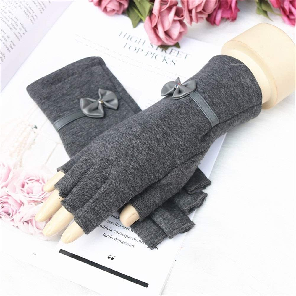 Winter Gloves Knitted Gloves Women's Thick Warm Fingerless Wool Gloves (Color : Gray, Size : One Size)