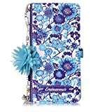 Misteem Custodia Fiore Colorate per Galaxy A20E Catena Pendente Cover - Flip Magnetica Ant...