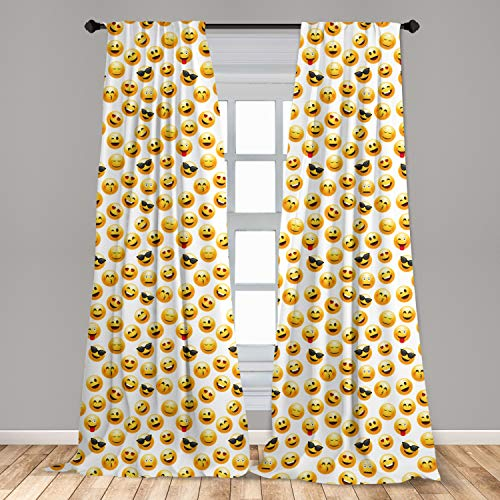 """Ambesonne Emoji 2 Panel Curtain Set, Smiley Face Character Illustration Feeling Happy Surprised Cool and in Love, Lightweight Window Treatment Living Room Bedroom Decor, 56"""" x 95"""", Yellow Black"""