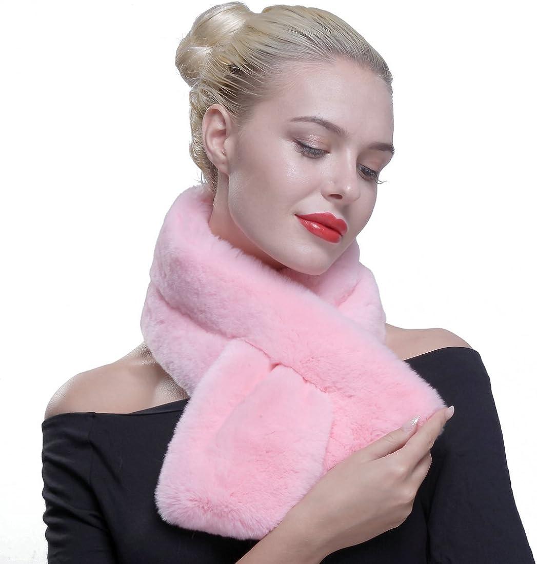 URSFUR Women Winter Authentic Rex Rabbit Fur Pull Through Scarf Multicolor