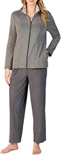 Cuddl Duds Fleece Jacket Lounge Set Color: Charcoal (XL)