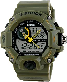 Quartz Digital Camo Waterproof Watch Men Dual Time Man Sports Watches Men Reloj Hombre green