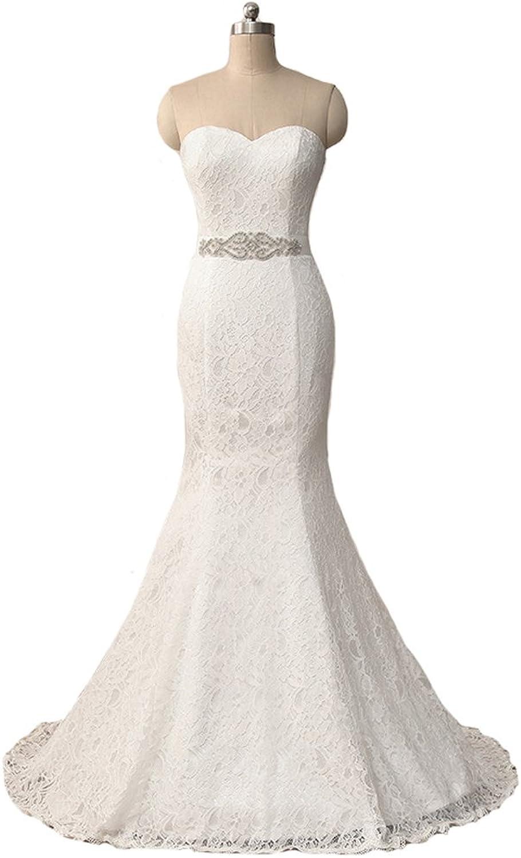 XPLE Mermaid Sleeveless Sweetheart Off The Shoulder Beaded Sash Lace Up Back Long Wedding Dress D44
