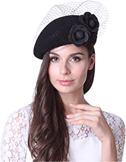 June's Young Women Hat Beret Hat Wedding Hat Black with Veilings French Beret