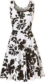 iLUGU Active Knee-Length Dress for Women Sleeveless Boatneck Floral Printing Summer Beach A Line Casual