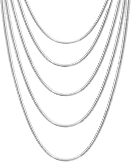 """10 PCS Silver Plated Snake Chain with Lobster Clasps for DIY Jewelry Making and Necklace Chain Replace (2PCS 16"""",2PCS 18"""",2PCS 20"""",2PCS 22"""",2PCS 24"""" inch, 1.2mm)-Promotion Price"""