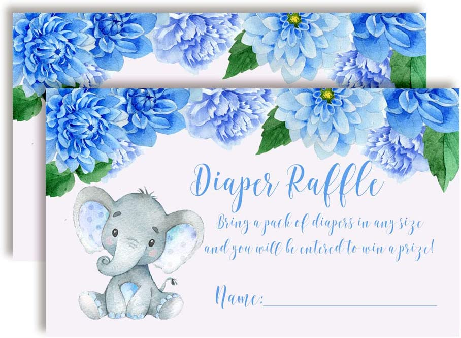 Watercolor Dahlia Floral Elephant-Themed Diaper Raffle Tickets for Boy Baby Showers, 20 2