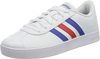 Adidas VL Court 2.0 Contrast-Stripe Side-Logo Lace-Up Skateboarding Sneakers for Kids