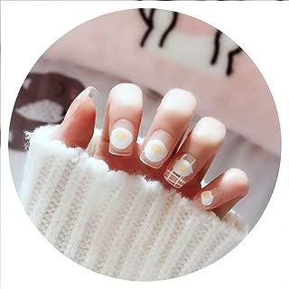 24 Pcs Cute Girls Egg Short False Nails Kawaii Transparent Fake Nails Fashion Simple Sticker