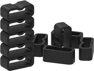 ECSEM Strap Loop Fastener Rings Compatible with Garmin Vivosmart 3/Vivofit 3/Vivofit 4 Bands Black Rubber Watch Bands Keep...