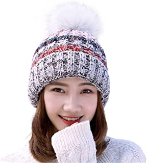 Remeehi Hat Knitted Wool Cap Plush And Thicker Ear Protective To Keep Warm And Windproof For Women And Girls In Autumn Winter Gray