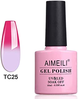 AIMEILI Soak Off UV LED Temperature Colour Changing Chameleon Gel Nail Polish - White Magenta (TC25) 10ml