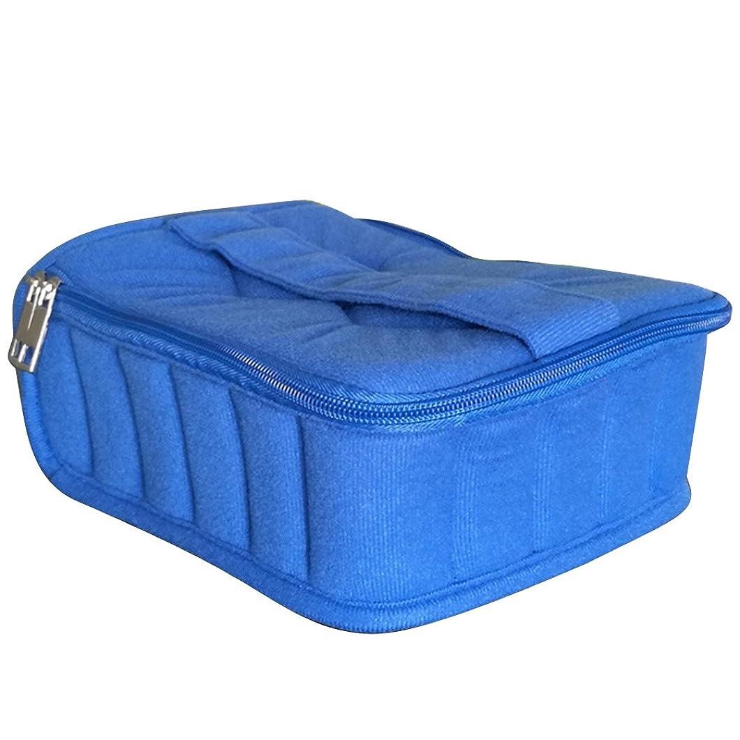学士つぼみ入札ゴシレ Gosear 30 格子 ポータブル ショック抵抗力 本質 ストレージ 旅行 運ぶ ケース ホルダー バッグ ため 5 ml 10 ml 15 ml ボトル 青色