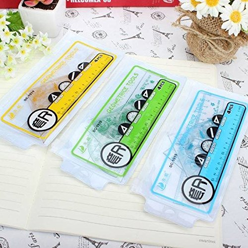 C&C Products 4 Pcs Catoon Rulers Set For Home Office Scool Student Drawing Random