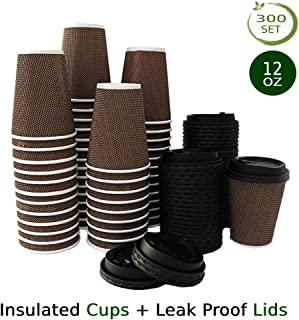 300 Count Bulk Disposable Coffee Cups (12 Ounce) - Eco Friendly Cups with Lids - No Sleeves Required - Insulated Leak Proof Cups - Premium Ripple Wall Paper Cups for Beverages Take Out Office Home Use