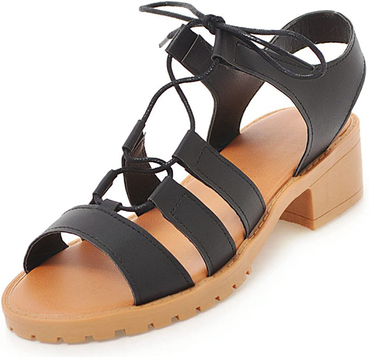 SaraIris Women's Gladiator Chunky Mid Heel Summer shoes Lace up Open Toe Daily Sandals