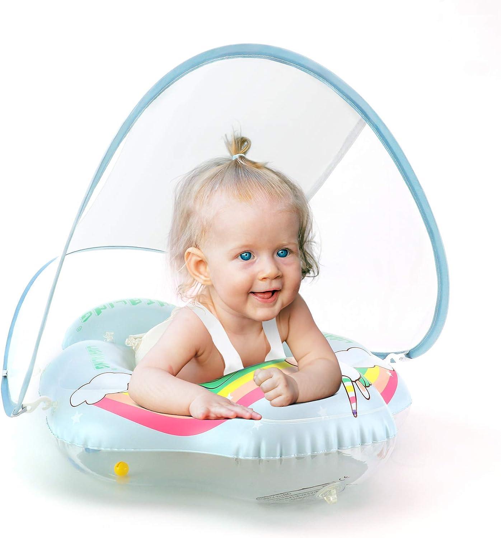 Lightaling Flotadores de natación para bebés de unicornio - Anillo inflable para piscina de bebé con toldo de protección solar para bebé, talla S, L, XL