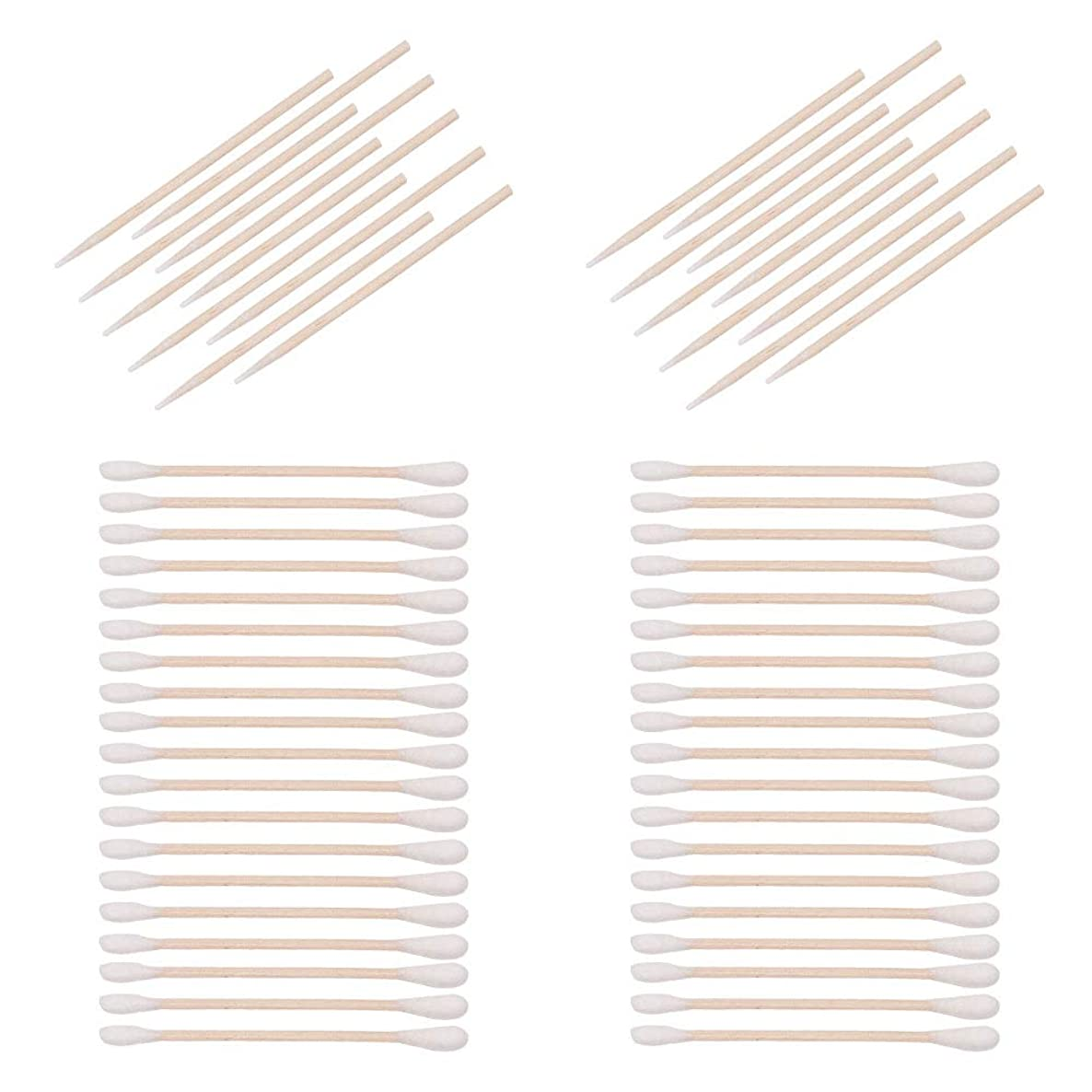WANDIC Wooden Cotton Swabs Set, 1000 Pcs Swabs Cotton Stick with 2 Styles, 500 Pcs Double-Tipped and 500 Pcs Pointed Cotton Swabs for Oil Makeup Applicators, Remover Tool and Home Accessories