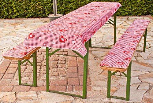 beo Festzeltauflagen Set inklusiv Tischdecke kariert im Landhausstil Bankauflage, circa 220 x 25 x 2,5 cm und 240 x 100 cm, rot/weiß/mehrfarbig