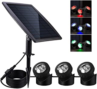 Solar Pond Lights,Solar Powered Spotlights Upgraded Amphibious Lighting Land/Underwater IP68 Waterproof Outdoor Landscape Lights RGB Color Adjustable with 3 Lamps 18 LED Auto On/Off Sensor Submersible