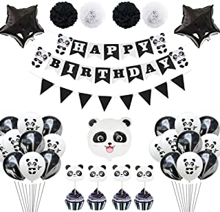 TownLights Panda Party Supplies for Girls Pink Happy Birthday Banner, Panda Head Foil Balloons, Cake Toppers for Baby Shower Party Favor Decorations