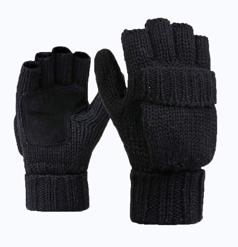 Unisex Winter Knitted Fingerless Gloves Convertible Wool Mittens Warm Glove Women & Men,Suede Thinsulate Thermal Insulation Mittens,Gloves,Half Finger Convertible Mittens(black)