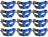 ECOSCO 12pcs Masquerade Masks Women Men Mardi Gras Venetian Ball Party Masks Bulk Wholesales (12pcs Black&Blue)