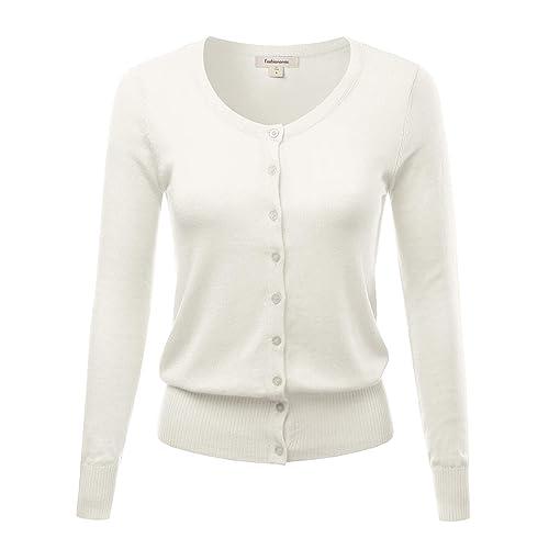 FASHIONOMIC Women s Button Down Crew Neck Light Weight Long Sleeve Knit  Cardigan Sweater (S- dd22813f7