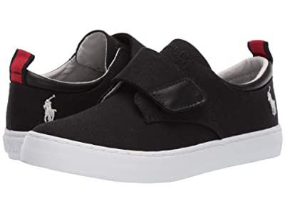 Polo Ralph Lauren Kids Charter EZ (Little Kid) (Black Canvas/Ivory Pony) Boy