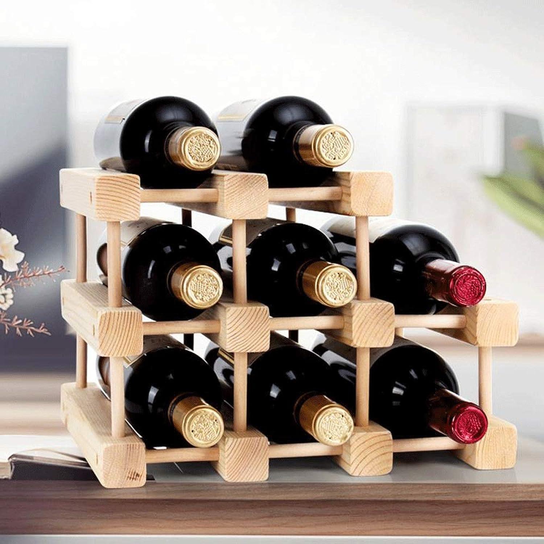 Solid Wood Wine Rack Decoration Creative Wooden Wine Rack Can Be Assembled Display Rack Pine Multi Bottle Wine Rack Stackable Design Miyabitora