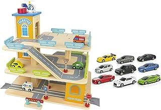 comprar comparacion Leomark Aparcamiento De 3 Niveles Garaje De Juguete Madera La Pista De Descenso Helicóptero Parking + 9 coches de metal