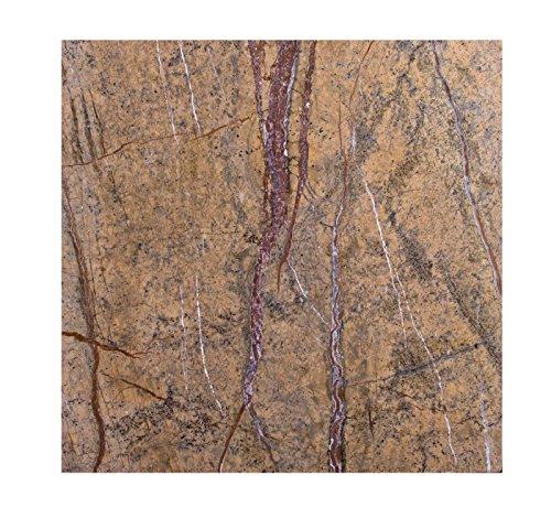 Marmor-Tisch Steinplatte Arbeitsplatte, Küchenplatte, Schneidebrett, Käseplatte Servierplatten Stein Unterlage Brettchen 40cm x 40cm x 1,7 cm, Edel Design Unikat Handarbeit, 8 KG