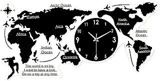 World Map Wall Clock, Nordic Acrylic Silent Modern Design 3D Stickers Hanging Clock, DIY Wall Clock Personality Art Decora...