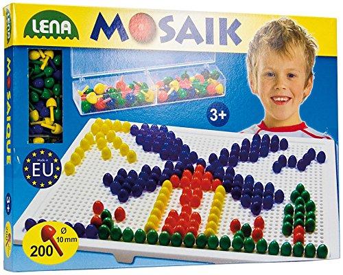 SIMM Spielwaren Lena 35537 – Mosaic Opaque/connecteur Kit, Plateau env. 28 x 19 cm, 200 env. 1 cm