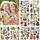 160 Hawai tatuajes temporales niños, 16 hojas hula tatuajes temporalis, regalo cumpleaños infantile, calcomanias, pegatinas de fiesta de playa piscina, Tatuajes a Prueba De Agua para Niños