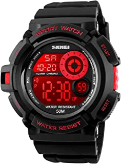 Men Sport Digital Watch 7 Colors LED Light Outdoor Military Watches Chronograph Alarm Clock Wristwatch