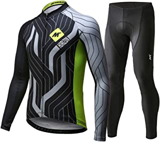 Men's Cycling Long Sleeve Breathable Jersey Set 3D Padded Long Pants Bike Shirt Bicycle Tights Clothing Black