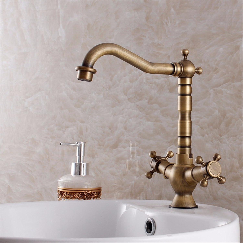 ETERNAL QUALITY Bad Waschbecken Wasserhahn Küche Waschbecken Wasserhahn Retro Kupfer Heien Und Kalten Doppelgriff Einlochmontage Drehhahn Waschtischmischer BQ105ca