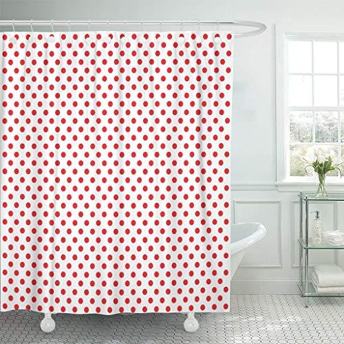 JOOCAR Design-Duschvorhang, gepunktet, Pop-Muster, rote Punkte auf halber Farbe, Comic, wasserdichter Stoff, Badezimmer-Dekor-Set mit Haken