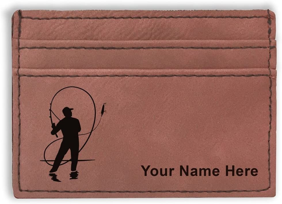 Money Clip Wallet, Fly Fisherman, Personalized Engraving Included (Dark Brown)