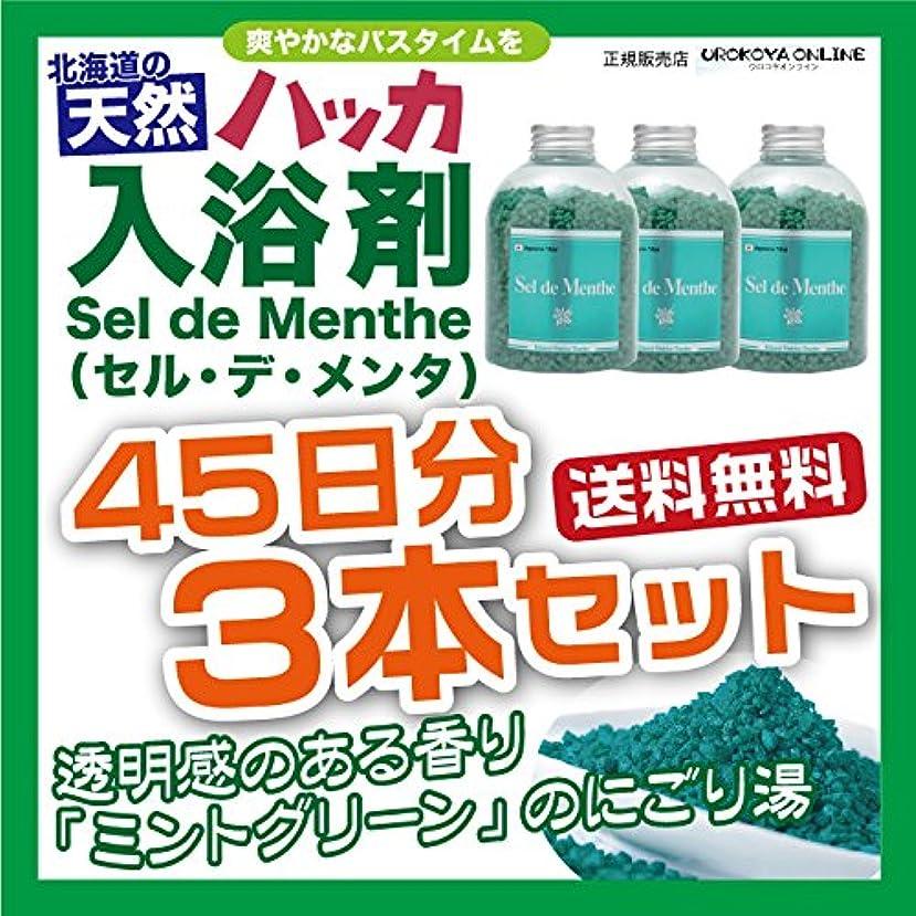 午後パーティション屋内で【3本セット】北見ハッカ通商 入浴剤Sel de Menthe(セル?デ?メンタ)徳用ボトル 3本セット 1350g