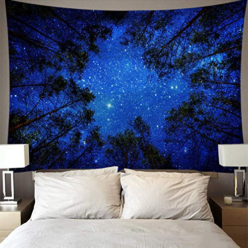 ENMOON Psychedelic Wishing Tree Blue Sky Starry Night Forest Tapestry (51x59in) 3D Print Wall Hanging Home Decor Ceiling Decor