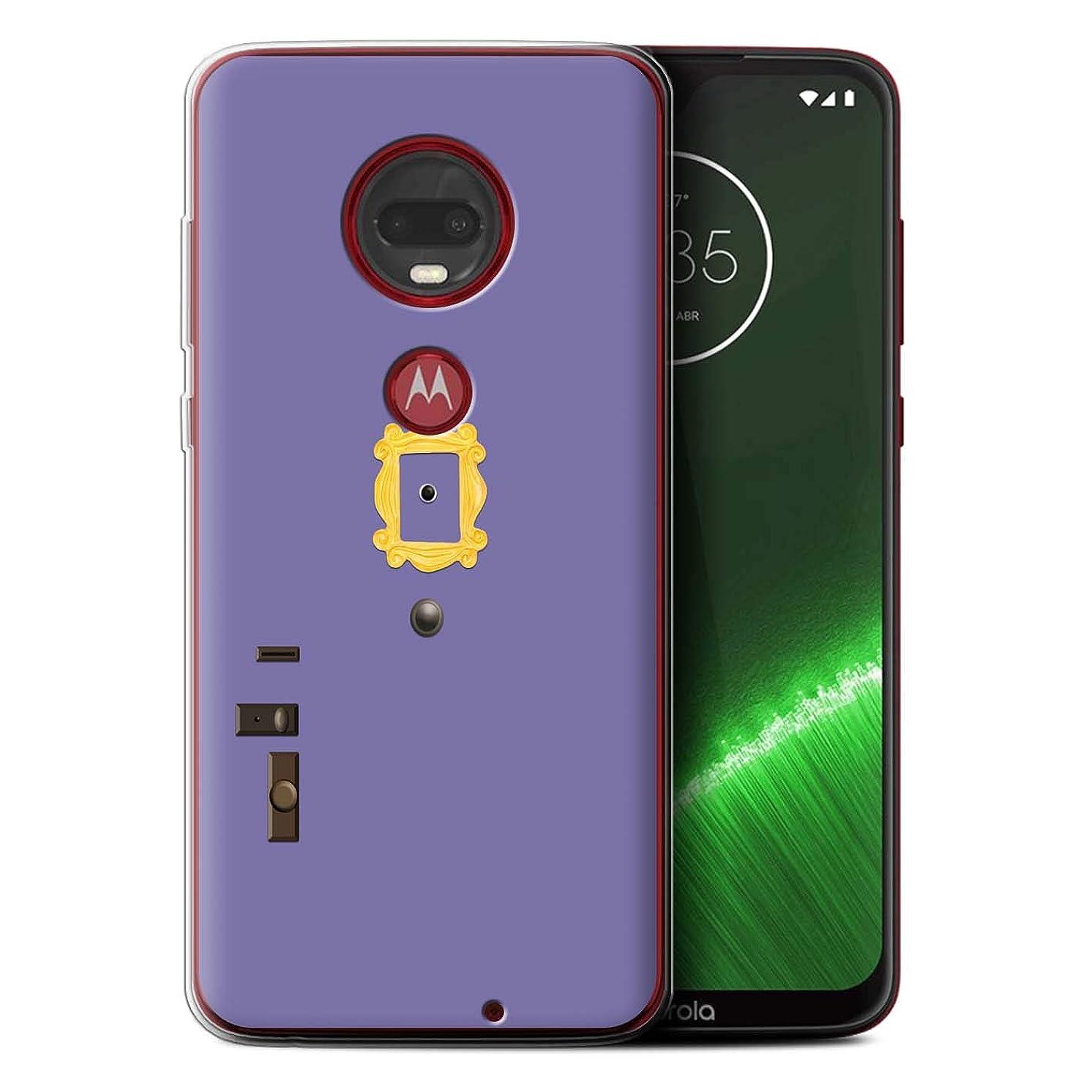 eSwish Gel TPU Phone Case/Cover for Motorola Moto G7/G7 Plus/Monica's Purple Door Design/Funny Sitcom TV Parody Collection
