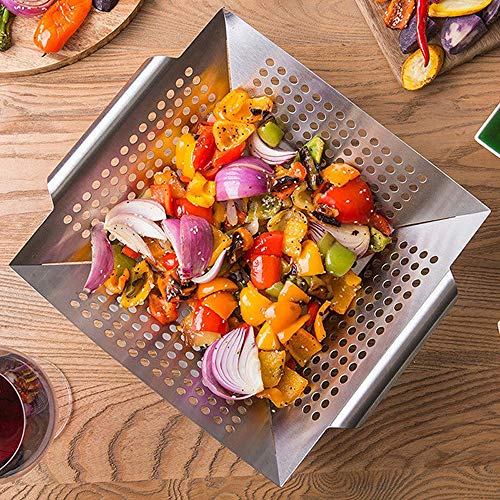 RUN ANT GrillKorb, Gemüsekorb aus Edelstahl Großer Rost Korb Grillschale Grillpfanne Grillzubehör für Gemüse, Fleisch, Fisch, Garnelen, Obst, einfache Reinigung in der Spülmaschine 34 x 29,5 x 6,3 cm