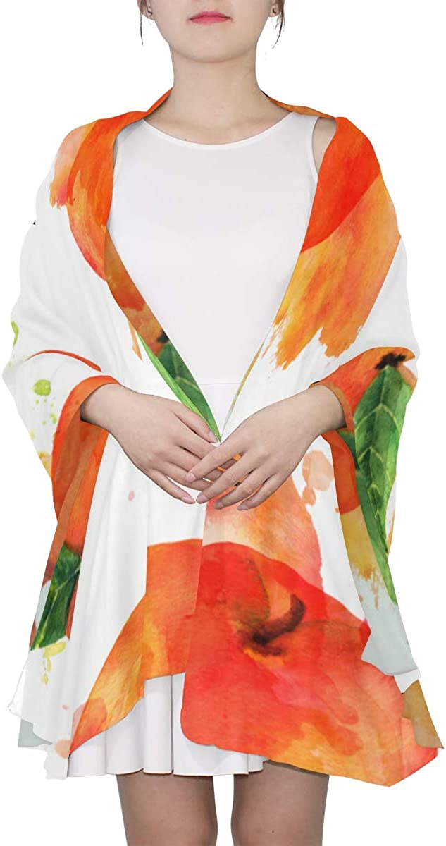 Watercolor Vibrant Red Apples Unique Fashion Scarf For Women Lightweight Fashion Fall Winter Print Scarves Shawl Wraps Gifts For Early Spring
