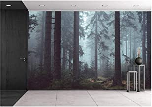 wall26 Foggy Pin Forest - Removable Wall Mural   Self-Adhesive Large Wallpaper - 100x144 inches