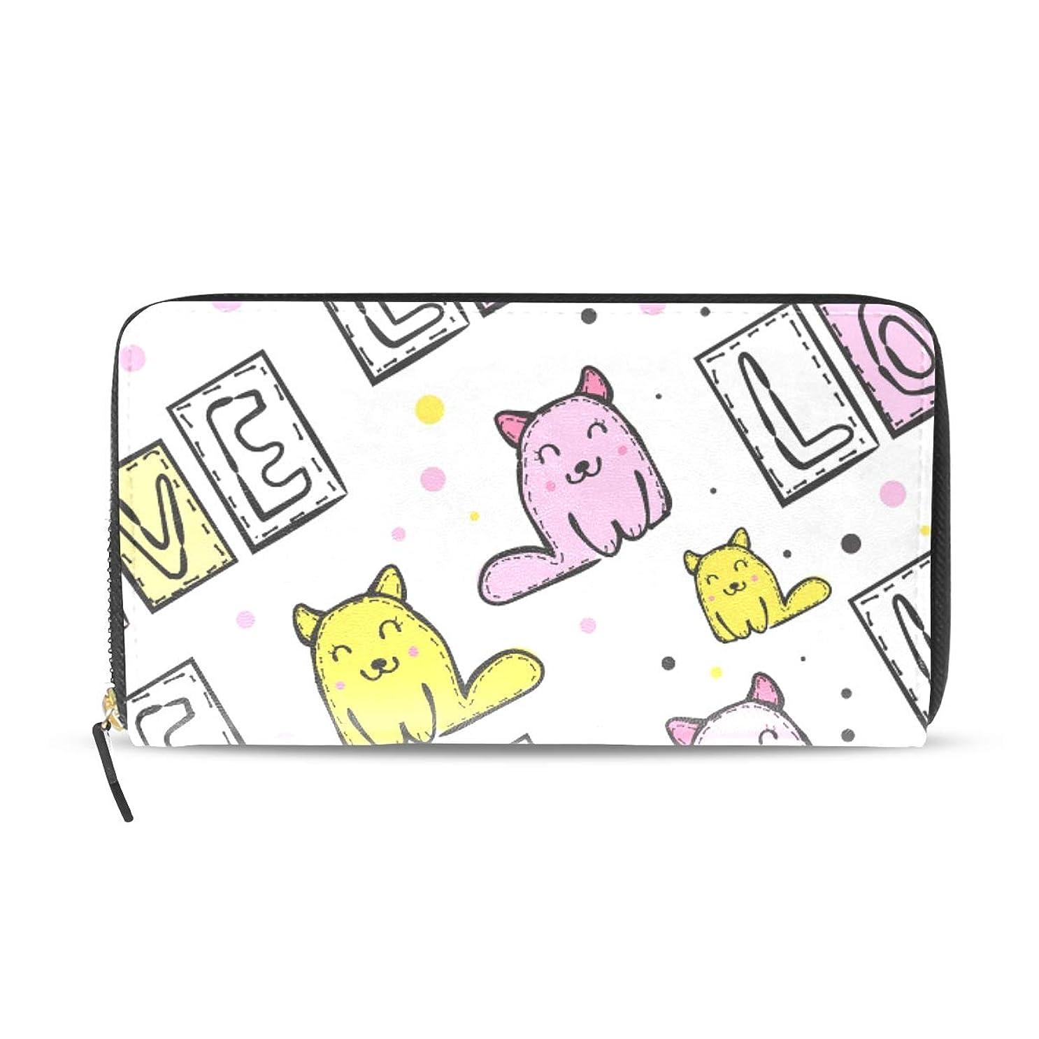 着服ティーム確認するユサキ(USAKI) 長財布 レディース 猫柄 可愛い 大容量 レザー ラウンドファスナー おしゃれ コインケース プレゼント
