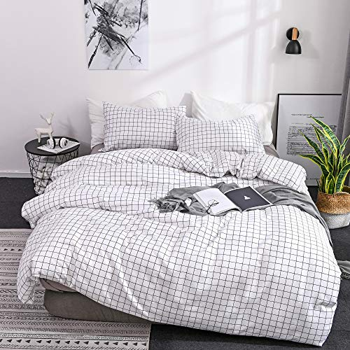 OLDBIAO White Single Size Duvet Cover 2 Pieces Brushed Microfiber Grid Quilt Cover Set,1x Duvet Cover 1x Pillowcase,Comforter Cover with Zipper Closure 135X200cm (Single)